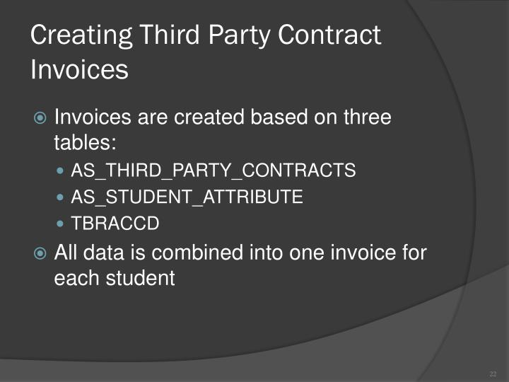 Creating Third Party Contract Invoices