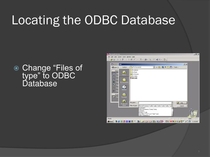 Locating the ODBC Database