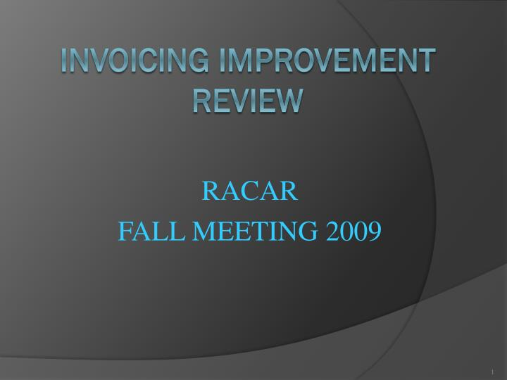 Racar fall meeting 2009