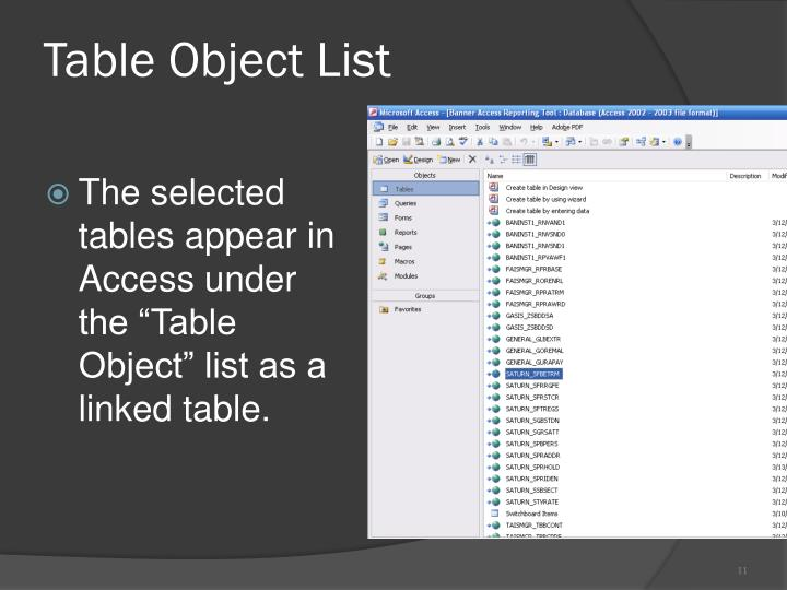 Table Object List