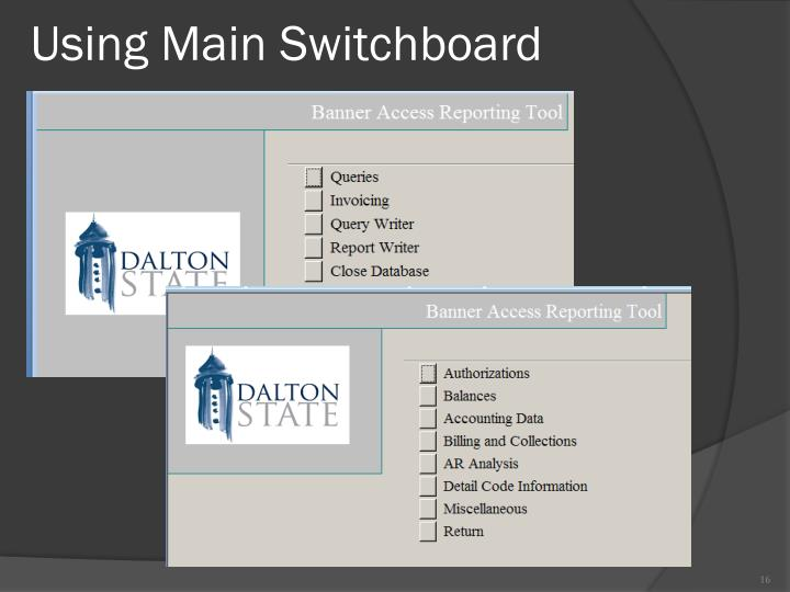 Using Main Switchboard