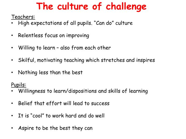 The culture of challenge