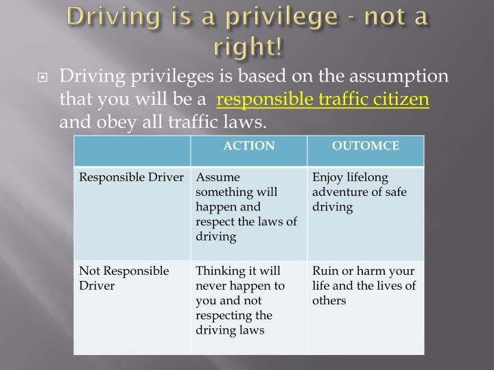 driving is a privilege not a