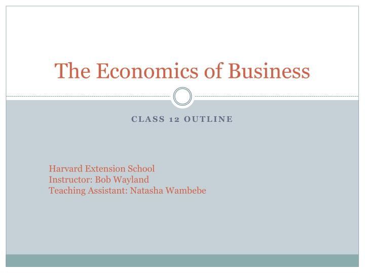 the economics of business n.