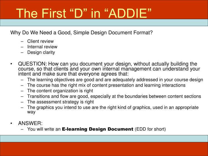 """The First """"D"""" in """"ADDIE"""""""