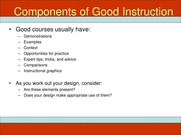 Components of Good Instruction