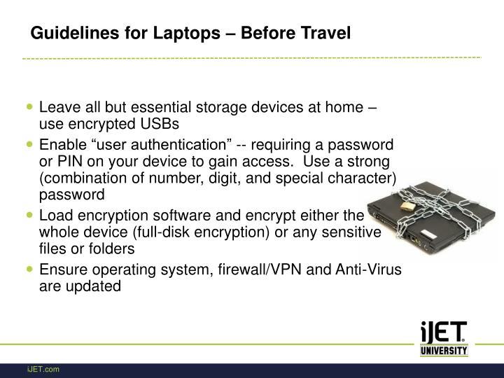 Guidelines for Laptops – Before Travel