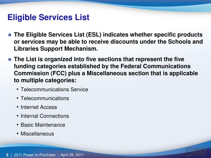 Eligible Services List