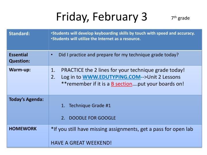 Friday, February 3