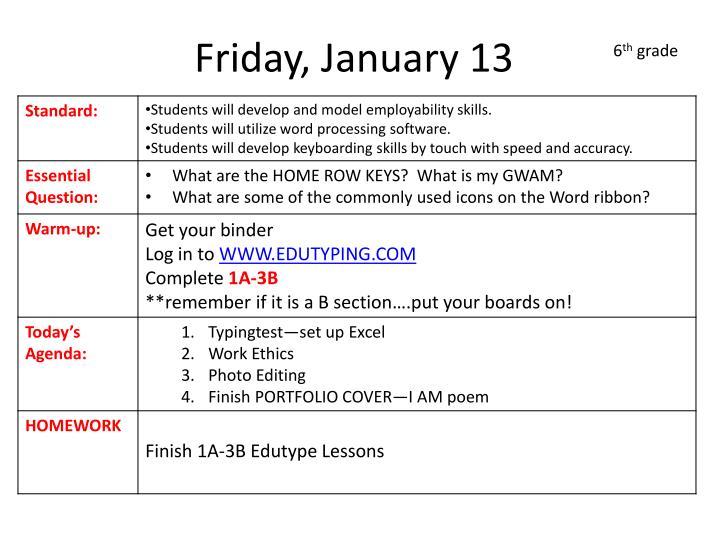 Friday, January 13