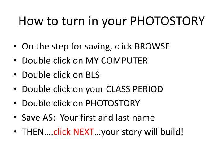 How to turn in your PHOTOSTORY