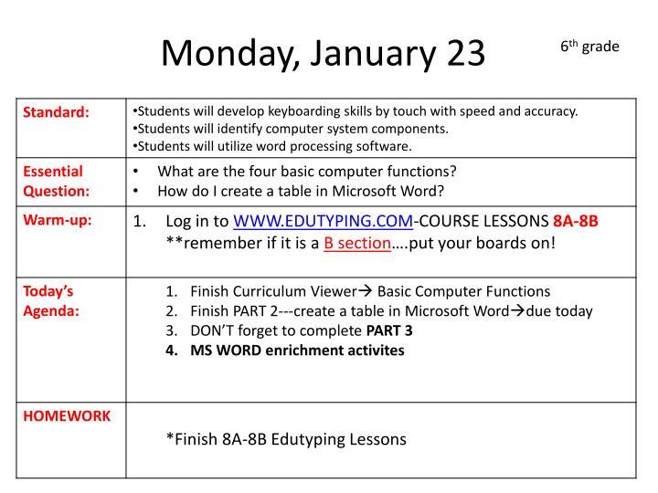 Monday, January 23