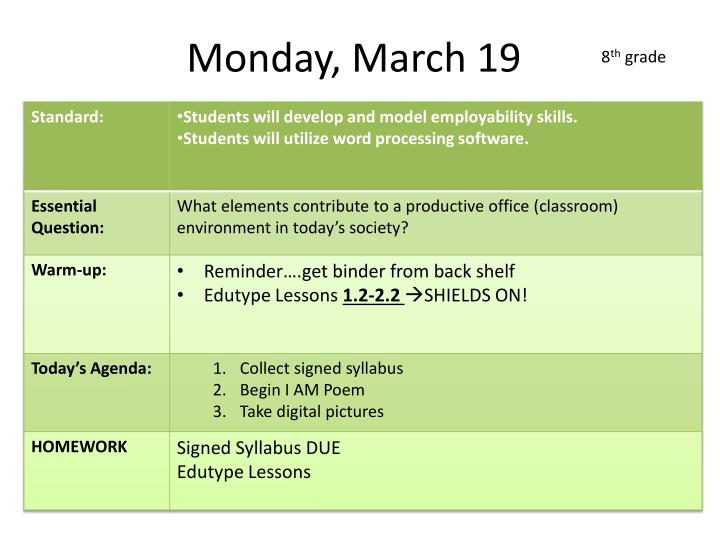 Monday, March 19