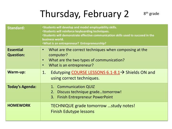 Thursday, February 2