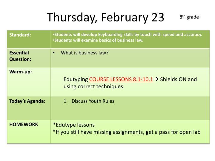 Thursday, February 23