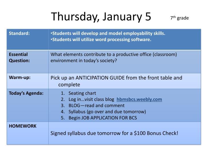 Thursday january 52
