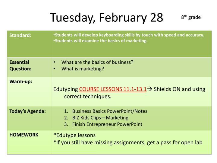 Tuesday, February 28