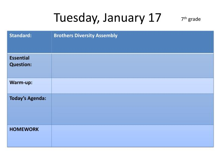 Tuesday, January 17