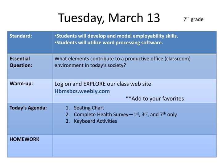 Tuesday, March 13