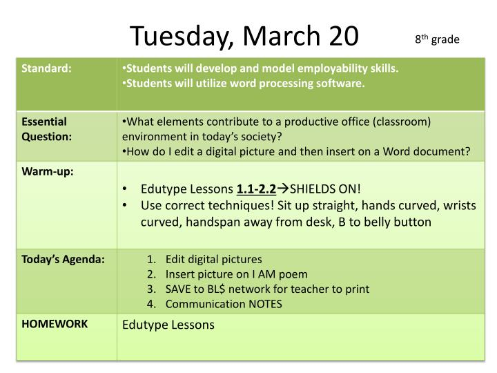 Tuesday, March 20