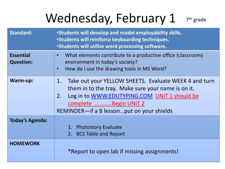 Wednesday, February 1