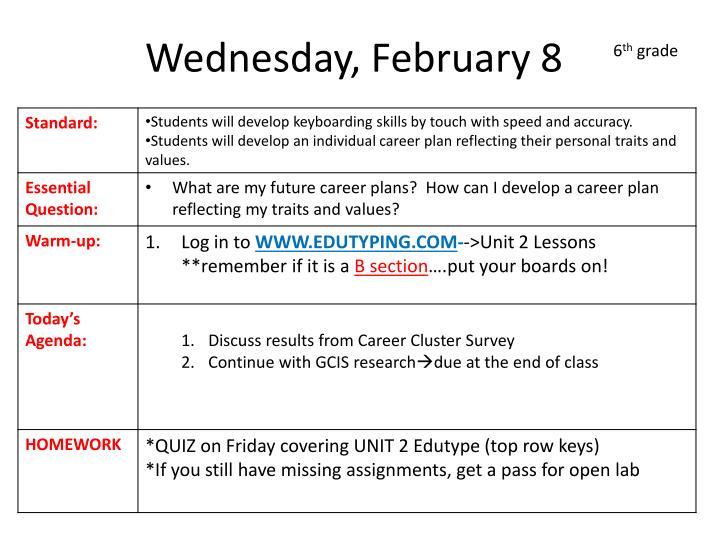 Wednesday, February 8