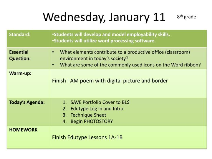 Wednesday, January 11