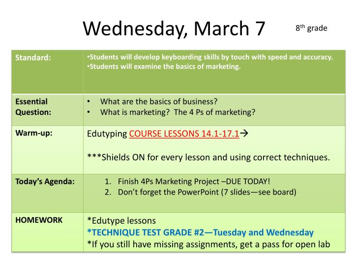 Wednesday, March 7