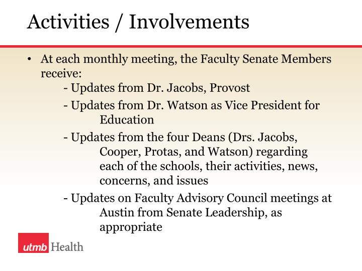 Activities / Involvements
