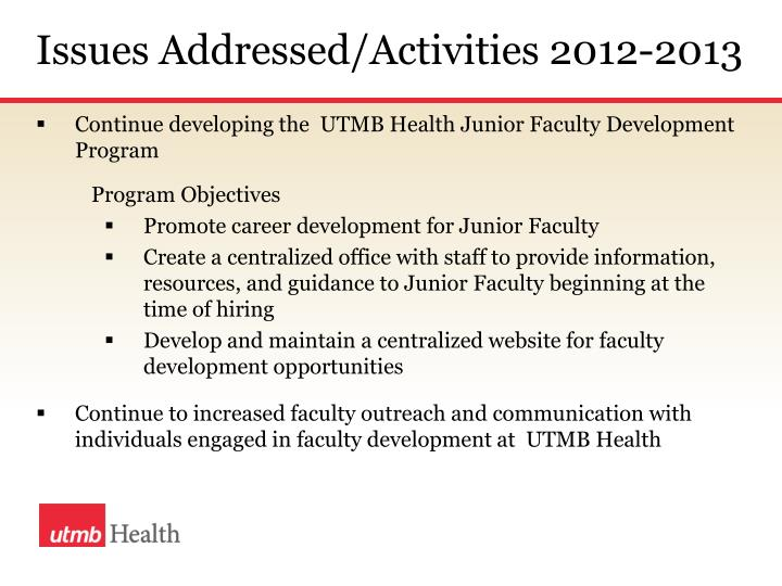 Issues Addressed/Activities 2012-2013