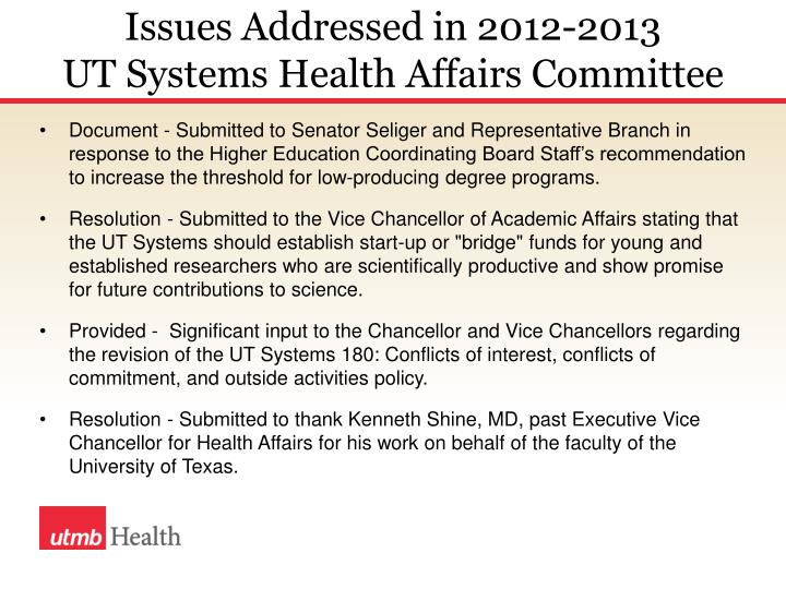 Issues Addressed in 2012-2013