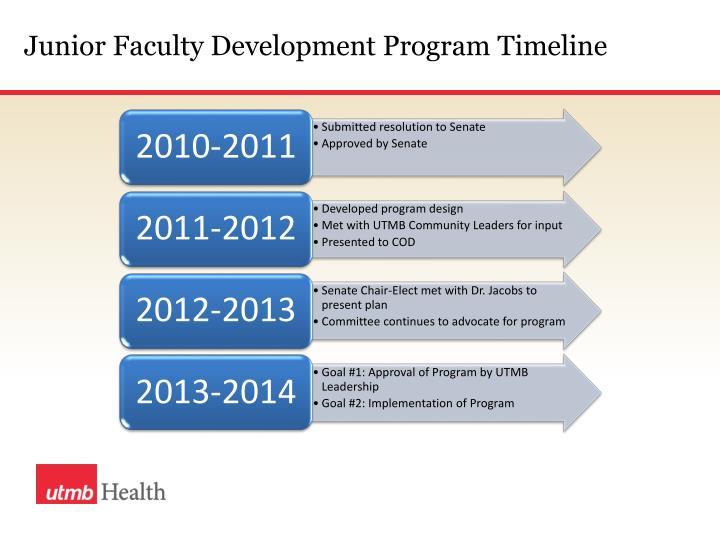 Junior Faculty Development Program Timeline