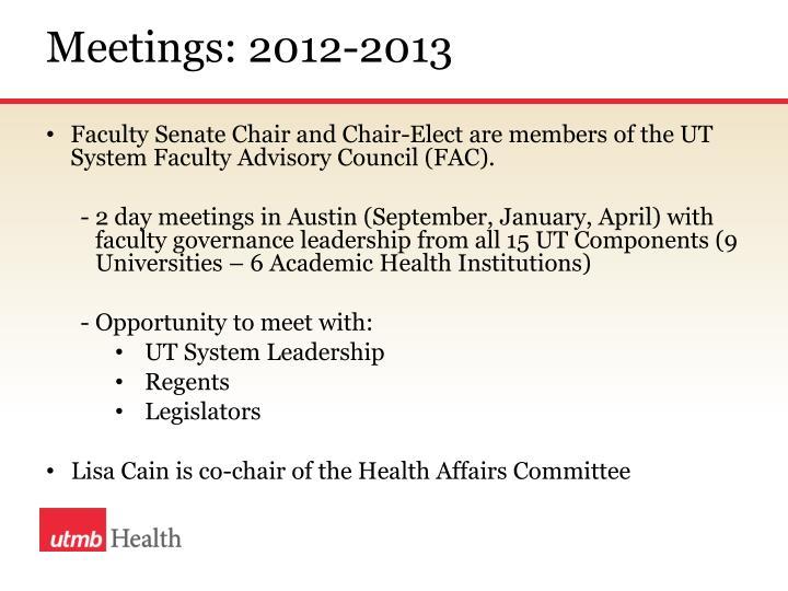 Meetings: 2012-2013