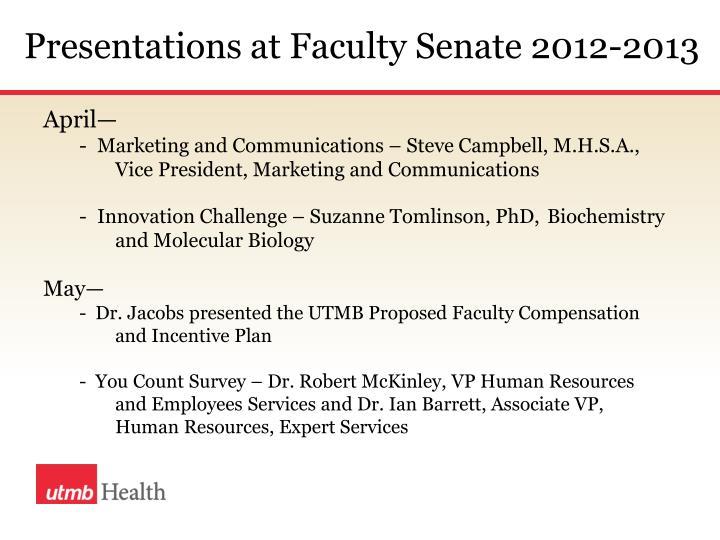 Presentations at Faculty Senate 2012-2013
