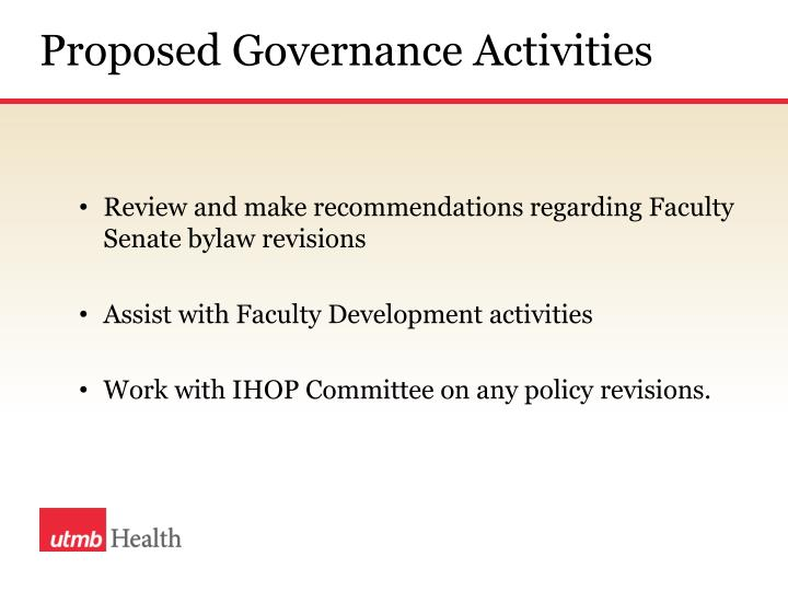 Proposed Governance Activities