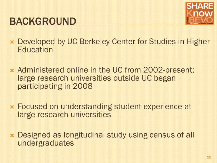 Developed by UC-Berkeley Center for Studies in Higher Education