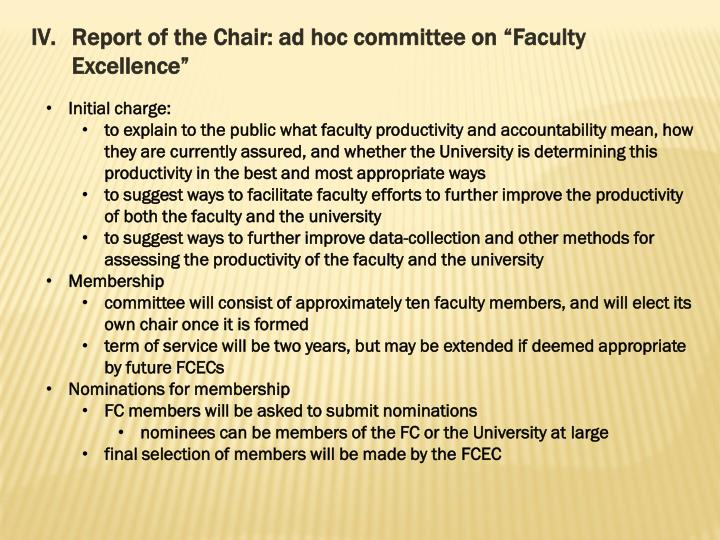 Report of the Chair