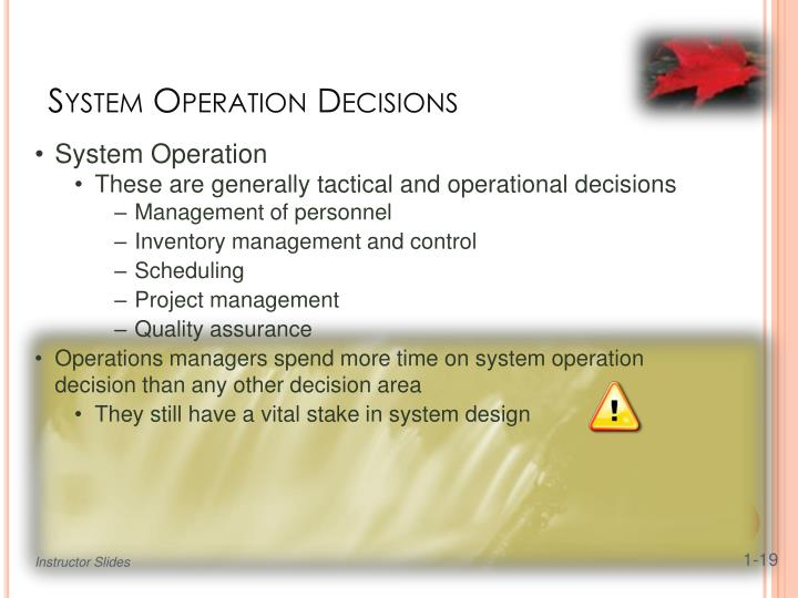operational decisions in operations management