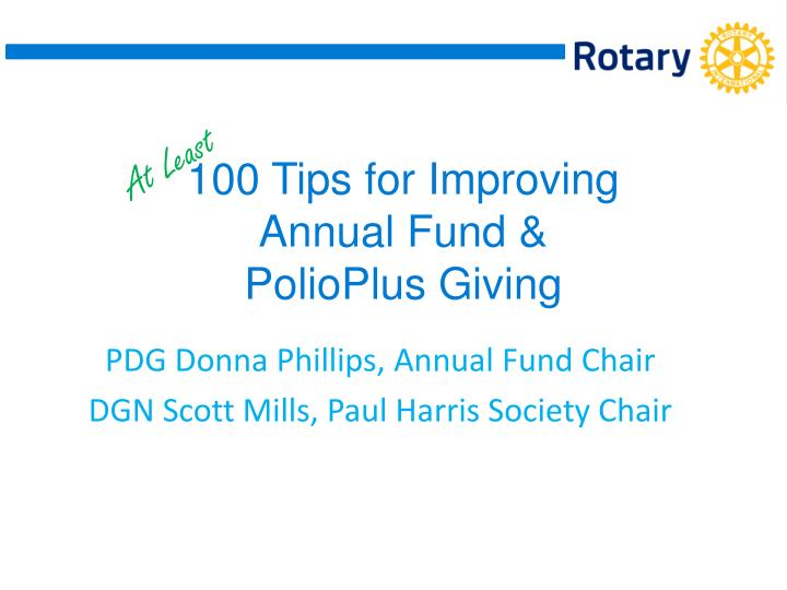100 tips for improving annual fund polioplus giving n.
