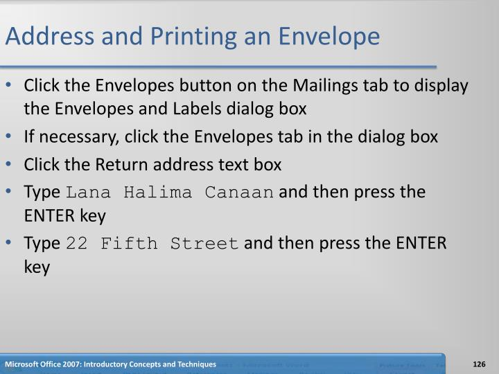 Address and Printing an Envelope