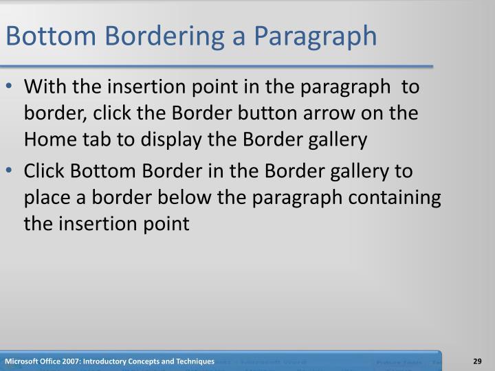 Bottom Bordering a Paragraph