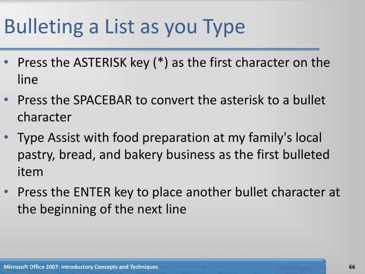 Bulleting a List as you Type