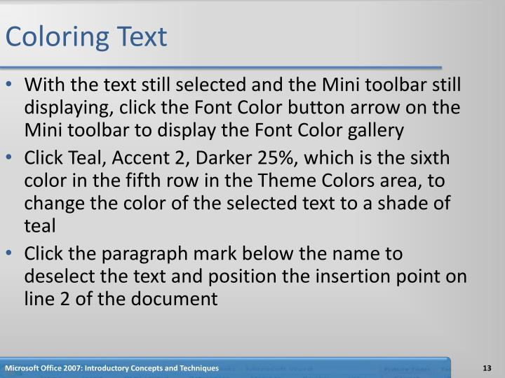 Coloring Text