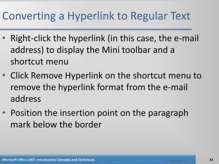 Converting a Hyperlink to Regular Text