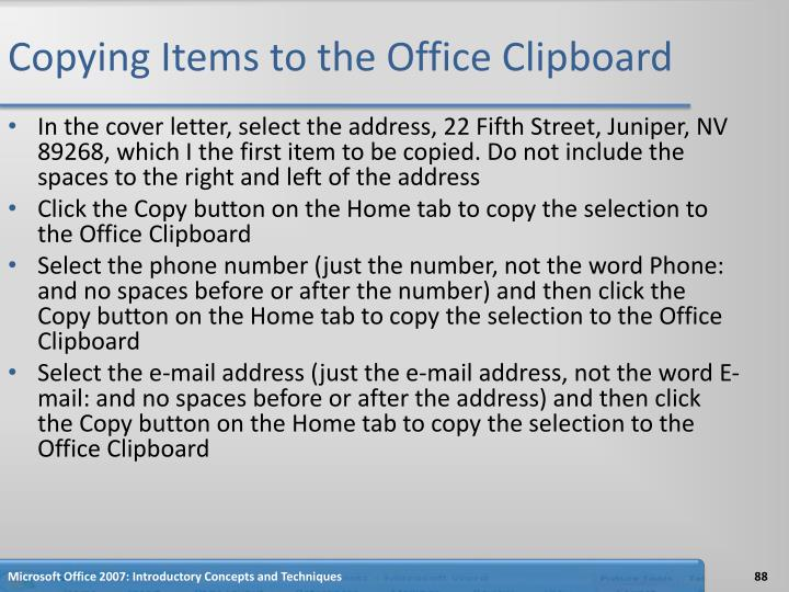 Copying Items to the Office Clipboard