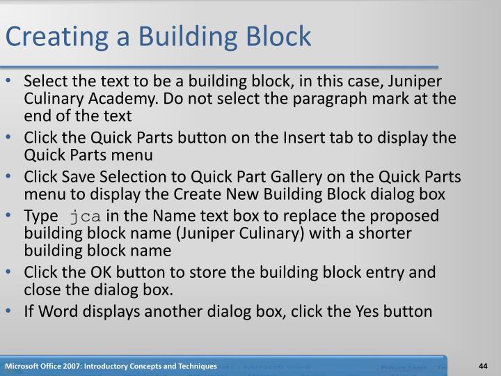 Creating a Building Block