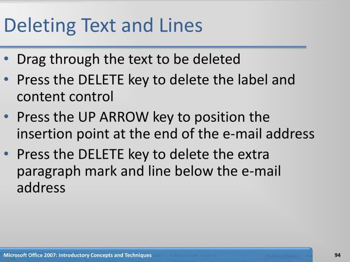 Deleting Text and Lines
