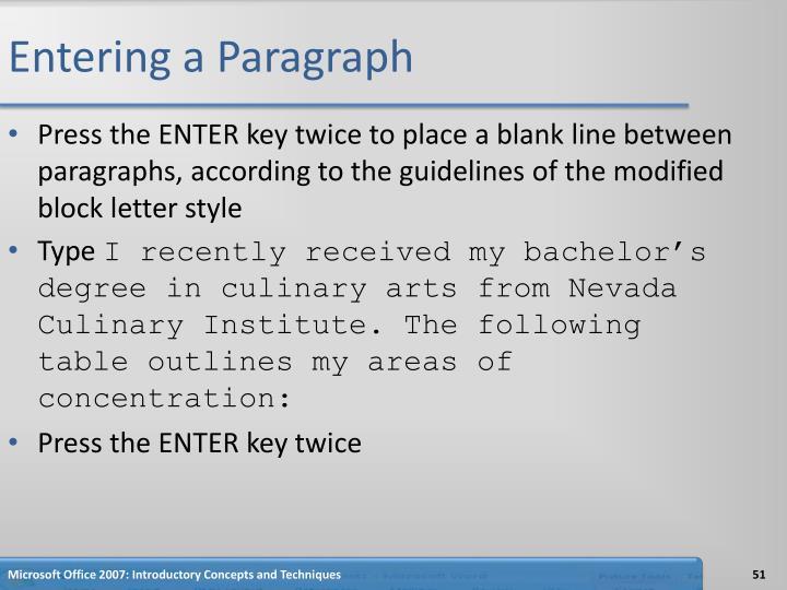 Entering a Paragraph