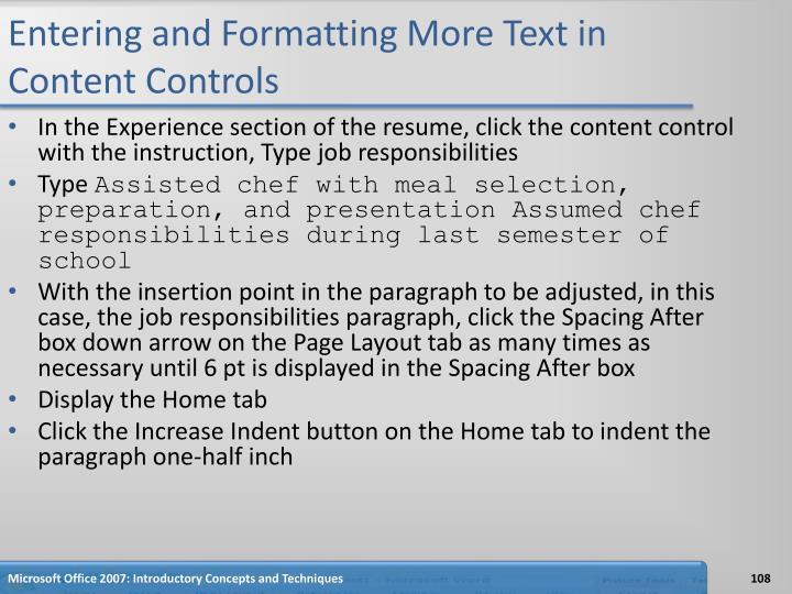 Entering and Formatting More Text in Content Controls