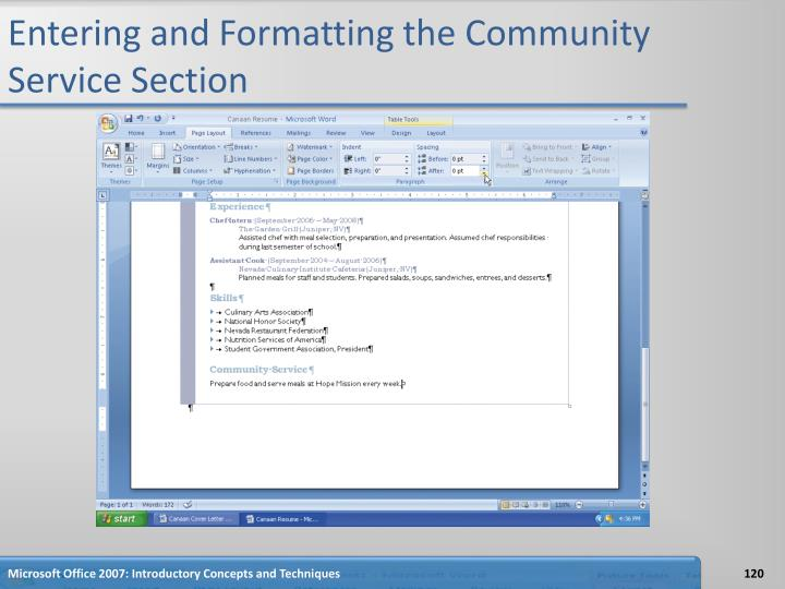 Entering and Formatting the Community Service Section